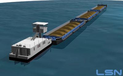 2 convois fluviaux de 135m de long pour 5000 tonnes